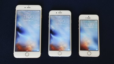 From left, the iPhone 6S Plus, 6S and SE.