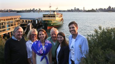 Henry and Annie Herron, mayor of Mosman Carolyn Corrigan, artist Peter Kingston, Freya Boughton and Alex Beech are among activists wanting to save the Lady class ferries.