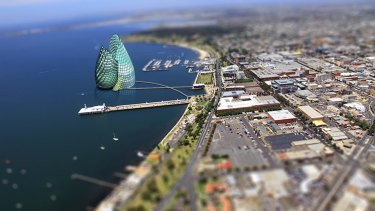 A digitally altered image shows what a casino on the Geelong foreshore could look like.