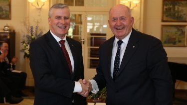 Michael McCormack is sworn in as Assistant Minister to the Deputy Prime Minister by Governor-General Sir Peter Cosgrove at Government House in Canberra in September 2015.