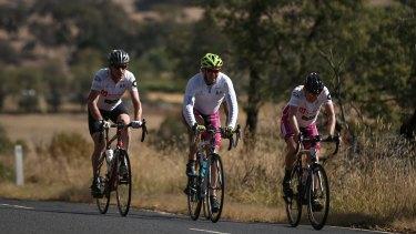 Mr Abbott during climb on his ride approaching Orange  on Thursday.