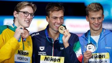 The podium from the 1500m: From left, Australia's Mack Horton with Italian gold medallist Gregorio Paltrinieri and Ukrainian silver medallist Mykhailo Romanchuk.