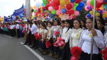 Cambodian civil servants participate in the Independence Day celebrations in Phnom Penh, Cambodia, last week.