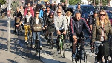 Rush hour: Copenhagen cyclists heading into the city centre.