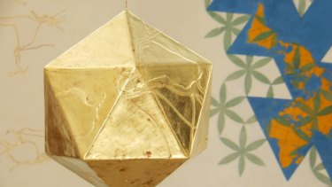 Detail from  Desmond Lazaro's Gold, Glory and God, World Making -  Icosahedron after Buckminster Fuller's Dymaxion (2017).