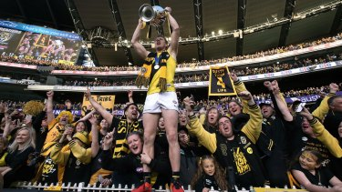 Tigers Jack Riewoldt  celebrates with fans.