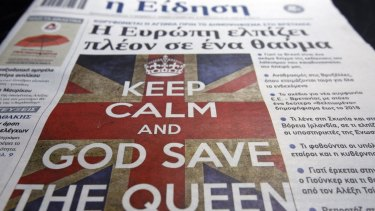 """A Greek newspaper with the cover headline of """"Europe Hopes For A Miracle"""" in reference to the referendum in Britain over whether to remain in the European Union."""