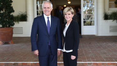 Malcolm Turnbull poses with Deputy Liberal Leader Julie Bishop after he was was sworn in as the 29th Prime Minister of Australia.