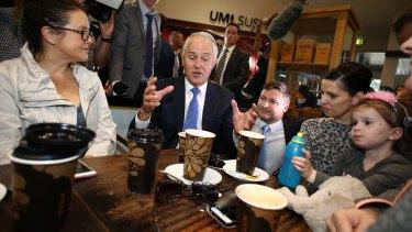 Prime Minister Malcolm Turnbull talks to shoppers in Glenelg, Adelaide.