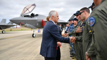 Prime Minister Malcolm Turnbull with Australia's newest warplane, the F-35 Joint Strike Fighter at the Australian international Air Show at Avalon earlier this year.
