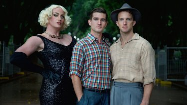 Hayden Tee, Ben Hall and Tim Draxl in Hayes Theatre Co's revival of <i>Only Heaven Knows</i>.