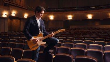 Rock star scientist: Professor of quantum physics David Reilly checks the sound in the City Recital Hall.