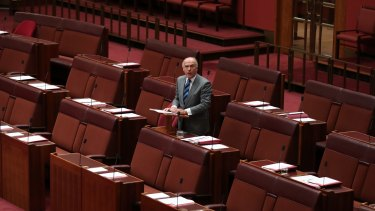 Swimming against the tide: Senator Eric Abetz speaks during debate on the Marriage Amendment Bill on Monday.
