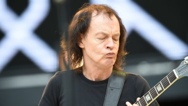 No school uniform: Angus Young during the <i>Rock or Bust</i> sound-check.