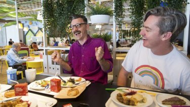 The Listies: Rich Higgins (left) and Matt Kelly at IKEA Restaurant in Richmond.