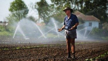 Farmer Steve Osborn cooling off at his pumpkin farm in Maitland, NSW.