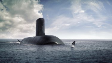 An impression of a Shortfin Barracuda submarine being built with the help of French firm Naval Group.