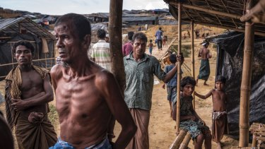 Rohingya refugees in a camp in Bangladesh near the Myanmar border.