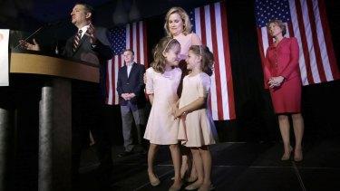 From left, Republican presidential candidate, Senator Ted Cruz, Texas Lieutenant-Governor Dan Patrick, daughter Caroline, wife Heidi, daughter Catherine, and former Republican presidential candidate Carly Fiorina on Tuesday.