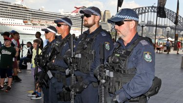 NSW riot squad police with their new guns and equipment.