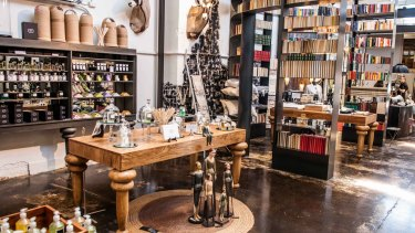 Italian offerings inside Mondopeiro include aqua flor perfumes and furniture.