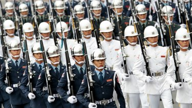Taiwan military march during the National Day celebrations.