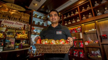 Kingston foreshore Max Brenner store superviser Sundra Singh has seen a major boost in trading in the lead up to Easter.