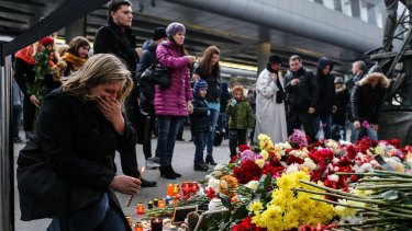 A memorial for the victims of the Airbus A321 crash at Pulkovo airport in St Petersburg.