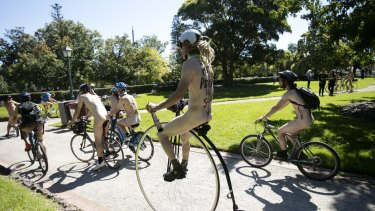 More than 100 people bared all for Melbourne's annual nude bike ride event.