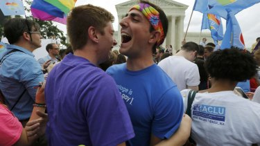 Gay rights supporters celebrate after the US Supreme Court ruling.