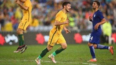 Breakthrough: Mathew Leckie celebrates scoring after Alex Gersbach's assist.