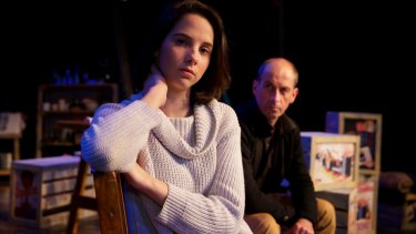 Actors Justina Ward and Geoff Surmai on set for <i>The Diary of Anne Frank</i> at the New Theatre.