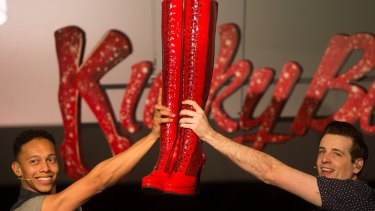 Callum Francis, left, and Toby Francis during rehearsals for <i>Kinky Boots</i>' Melbourne debut.