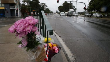 Floral tributes left at the crash scene on Thursday.