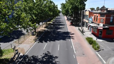 Hoddle Street, Collingwood, during a rare break in traffic on Wednesday.