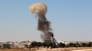 Smoke billows from Kobane on Thursday.