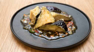 Sweet and sour fried eggplant.