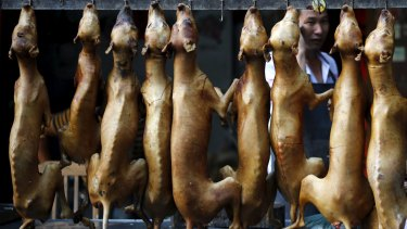 Butchered dogs are displayed at a vendor's stall at the market ahead of a local dog meat festival in Yulin.