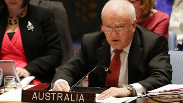 Gary Quinlan, Australia's ambassador to the United Nations, speaks during a meeting of the UN Security Council.