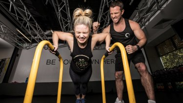 Former Cronulla Sharks player and personal trainer, Ben Lucas trains Channel 9 presenter, Emma Freedman at his gym, Flow Athletic in Paddington, Sydney.