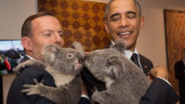 Barack Obama with Tony Abbott at the G20 in 2014.