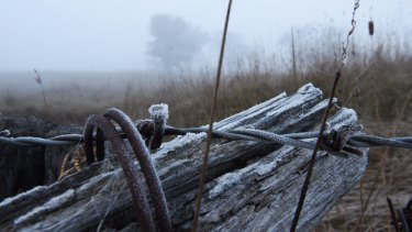 Fog and frost in the Lithgow region as temperatures dropped below 0 degrees.
