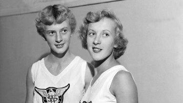Betty Cuthbert (left) with twin sister Marie Cuthbert.