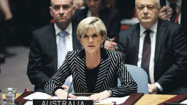 Australia's Foreign Minister Julie Bishop speaks to members of the Security Council last year.