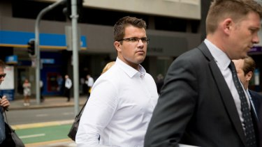 Gable Tostee arrives for day three of his murder trial at Brisbane Supreme Court.