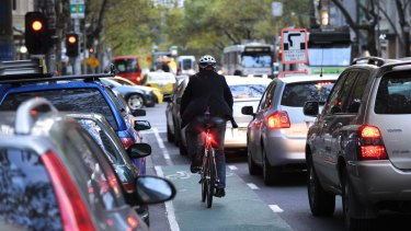 Male cyclists dominate on the streets of Melbourne.