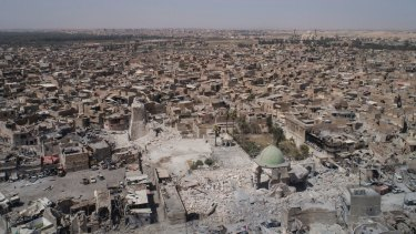 An aerial view of the destroyed landmark al-Nuri mosque in the Old City of Mosul, Iraq.
