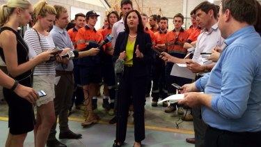 Labor leader Annastacia Palaszczuk addresses media at Rocklea.