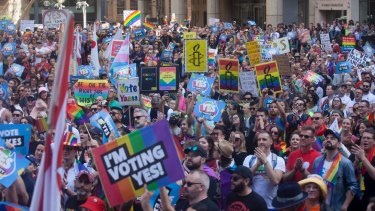 The crowd at the rally in support of same-sex marriage at Town Hall in Sydney.