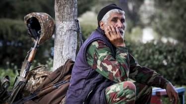An Armenian volunteer in the separatist Nagorno-Karabakh region.